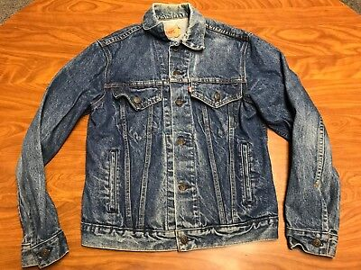 Mens Vintage Distressed Levi's Strauss Button Up Denim Jean Trucker Jacket 38R
