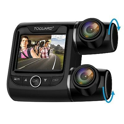 """TOGUARD Uber Dual Dash Cam FHD 1080P+1080P Front and Rear View Car Camera 2"""" LCD"""