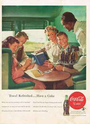 1948 Coca-Cola Train Travel Vintage Original Laminated Ad Art