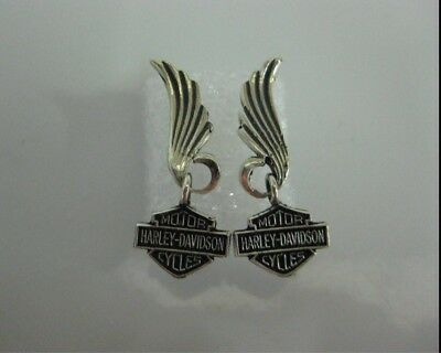 "Harley Davidson Bar & Shield Eagle Wing Sterling Earrings New ""Great Gift"""
