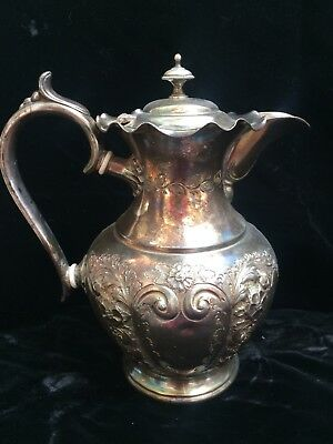 Gorgeous Antique Victorian Silver Etched Water Pitcher