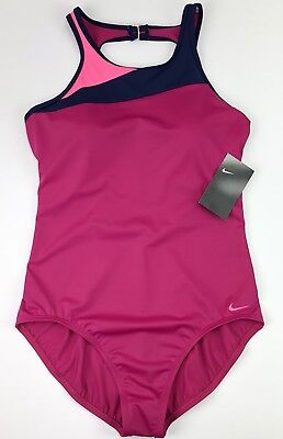New Nike Swoosh Women's Large Pink Navy One Piece Bathing Swim Suit