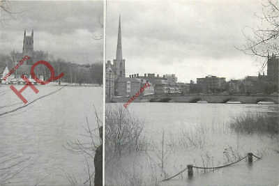 Picture Postcard- Worcester, February 1990, Flood Waters
