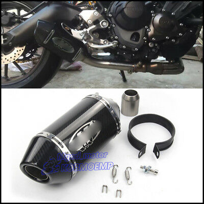 315mm Motorcycle ATV Exhaust Muffler Pipe Carbon Fiber Tail Tube Slip on 38-51mm