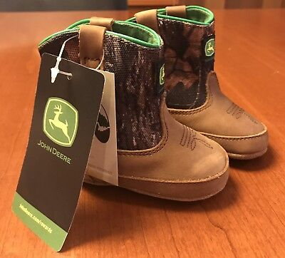 Johnny Poppers John Deere Baby Boots Size 2 (3-6m) Crib Shoes Infant Green Brown