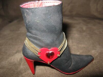 """Just the Right Shoe """"Love Heals"""" black boot with red heart on chains 27306 Raine"""
