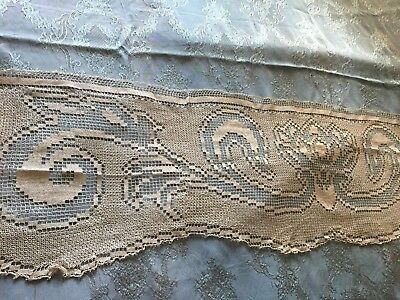 Beautiful Vintage Handmade Filet Lace Curtain