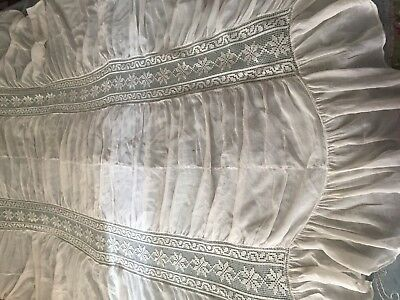 Beautiful Vintage Cambric Curtain With Handmade Filet Lace