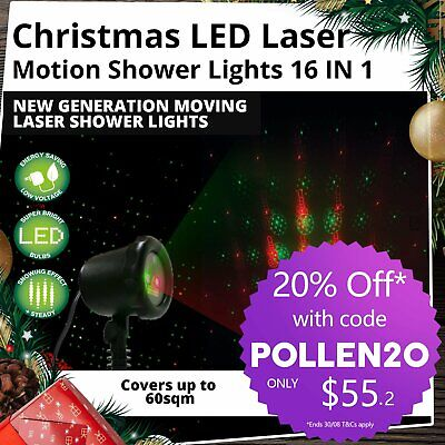16 Patterns LED Laser Projector Lights Christmas Party Outdoor Xmas House Lamp