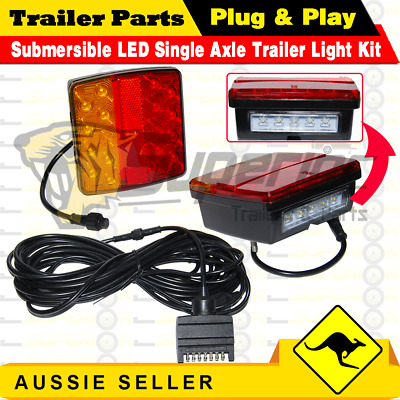 2 x 18 LED Single Axle TRAILER LIGHTS KIT,WIRE Kit,Plug & Play,Water proof 12V