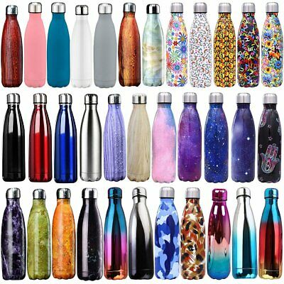 350-1000ml Double Wall Vacuum Insulated Water Bottle Sport Travel School Drinks