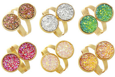 12mm Gold Plated Double Resin Druzy Crystals Mermaid Cocktail Ring JZ0493