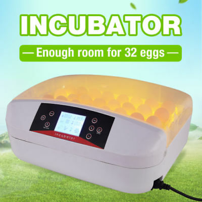 Digital LED Automatic Temperature Control Chicken Duck 32 Eggs Incubator Turner