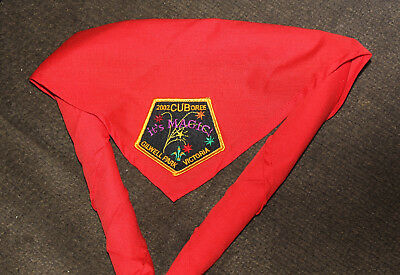 Scout Badge 2002 Cuboree Gilwell Park Victoria Badge On Red Participant Scarf