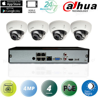 Dahua 4Mp 4Ch Kit Poe Motorized 2.7-13.5Mm Vandalproof Dome Ip Cameras Systems