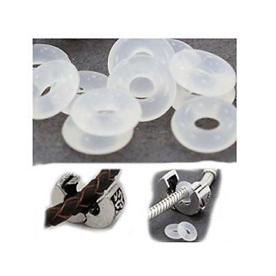 Silicone rubber stopper clip inserts spacer holds Pandora charm in place bangle