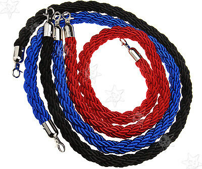 1.5M Red/Blue/Black Luggage Case Barrier Twisted Rope Divider Crowd Control