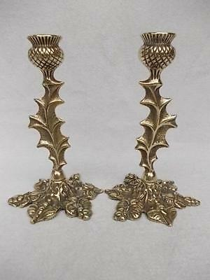 Beautiful Antique Pair Of Brass Scottish Thistle Shaped Candlesticks