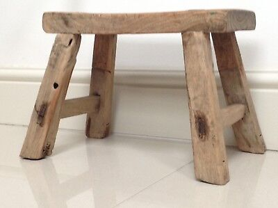 Antique French Elm & Oak Wooden Milking/Child's Stool Rustic Farmhouse