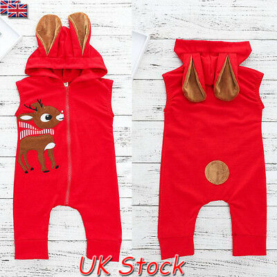 Christmas Newborn Baby Boy Girl Elk Ear Cotton Romper Jumpsuit Outfits Clothes