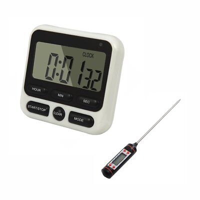 Large LCD Digital Kitchen Timer HX106 Alarm Clock Magnetic + Food Thermometer