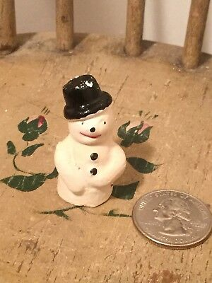 Antique German Composition Snowman Cake Decoration Snow Baby Putz Scene