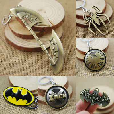 Marvel Super Hero Batman Spiderman Avenger Keychain Bag Hanging Key Chain Ring