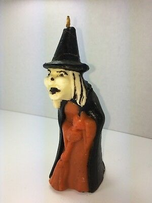 Vintage Halloween GURLEY Witch with Broom Candle 5 1/2-inch