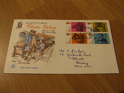 SUPER GB Stamps 1970 FDC Charles Dickens Oliver Twist Cover Reading Cancel
