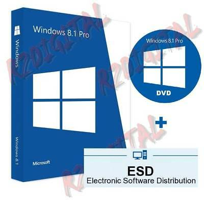 WINDOWS 8.1 PRO ESD con ADESIVO DVD ORIGINALE MICROSOFT COMPUTER NOTEBOOK 32 64