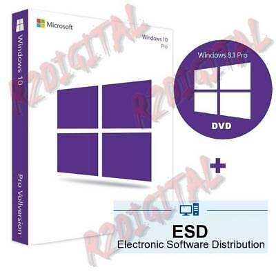 WINDOWS 10 PRO ESD con ADESIVO DVD SEVEN ORIGINALE MICROSOFT COMPUTER NOTEBOOK