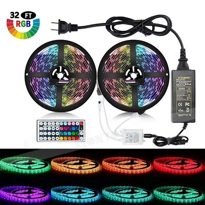 10M 5050 RGB LED Strip with 24/44keys IR Remote Controller +12V 5A Power Adapter