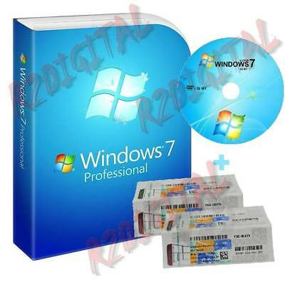 Windows 7 Professional Sp1 Dvd Adesivo Coa Sticker Win Pro Pack Seven 32 64 Bit