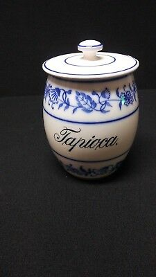 "Antique Blue Onion Canister Tapioca Germany 1900 with Repaired Lid 7""  Rare"