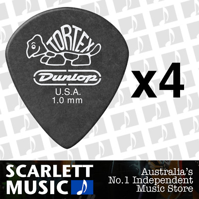 4 X Jim Dunlop Tortex Jazz 3 Pitch Black 1.0mm 1mm Guitar Pick Picks III *NEW*