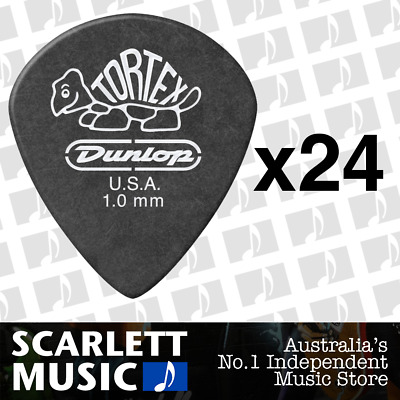 24 X Jim Dunlop Tortex Jazz 3 Pitch Black 1.0mm 1mm Guitar Pick Picks III *NEW*