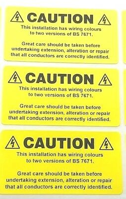 9 x Warning Installation labels, electrical stickers 49 x 25mm FREE P&P