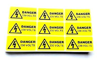 9 x 230 volts warning electrical stickers labels 49 x 25mm FREE P&P