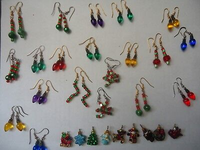 Lot of 20 Handcrafted Xmas Earrings and xtra miniatures