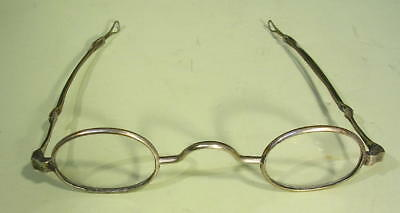 Antique 1830-40 COIN SILVER Eyeglasses Spectacles Specs Slide Bows Loop Ends NR