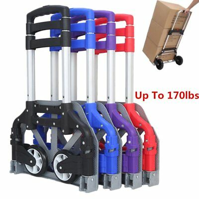 170lbs Cart Folding Dolly Push Truck Hand Collapsible Trolley Luggage Aluminium
