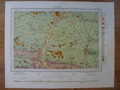 Vintage Geological Geology Map Winchester in Near-Fine Condition. FREE POSTAGE