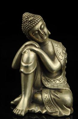 old tibet hand carved Sleeping Buddha copper plating silver Buddha statue