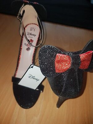 Primark DISNEY MINNIE MOUSE Black & Red Glitter Bow High Heels Stiletto Shoes