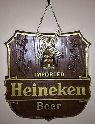"Heineken Beer Signs ""Old World Shield"" -NOS- Classic Windmill Logo- Party Bar"