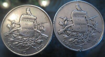 "OF GREAT RARITY START 1 $ GUATEMALA UN PESO 1872 and 1873 P ""Seated Justice"""