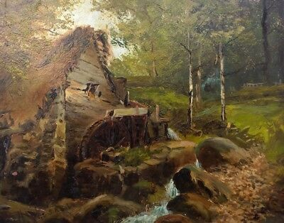 Gibb Signed 1892 19th C Antique English Original Oil Painting Old Mill Landscape