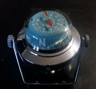 SEA KING BOAT COMPASS Aqua Meter Products Blue Chrome Vintage Free Shipping
