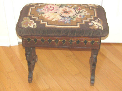 Antique Original Solid Wood Floral Needlepoint Bench / Stool