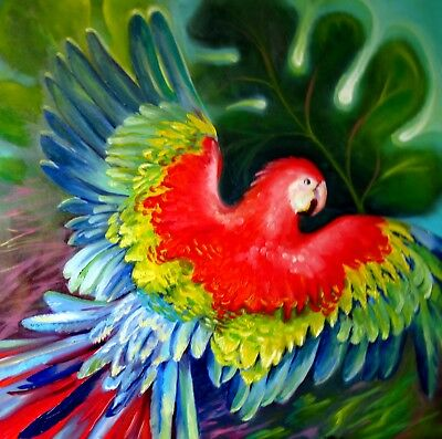 """Back to Freedom"" 24X24"" Red Macaw Parrots Original Oil Painting by Nadia Bykova"